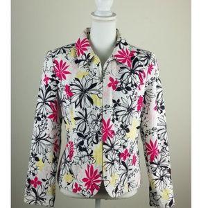Oscar De La Renta Floral Zipper Front Jacket Sz 10